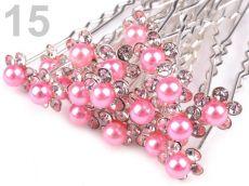 6be5917ceb0 Štrasová vlásenka - květinka s perličkou světle růžová 1ks